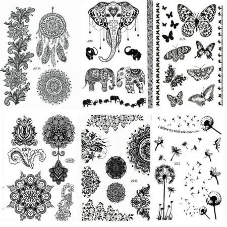 black henna tattoo amazon 6 sheet henna stickers makeup black lace