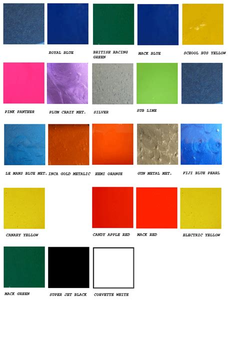 auto paint pro color chart
