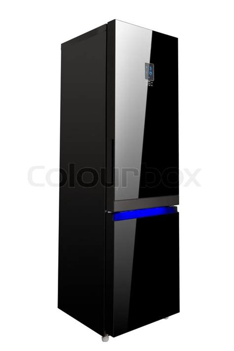 Black Glass Door Refrigerator Two Glass Door Shiny Black Refrigerator Isolated On White Stock Photo Colourbox