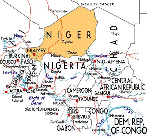 africa map niger map of niger in africa
