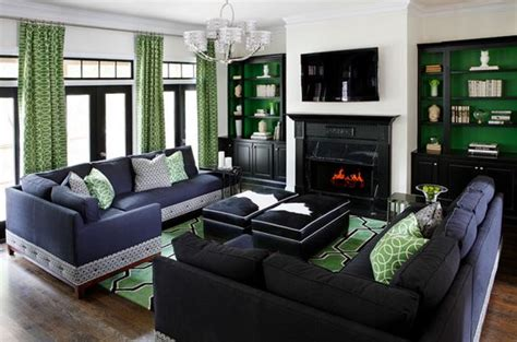 green and black living room green white and black