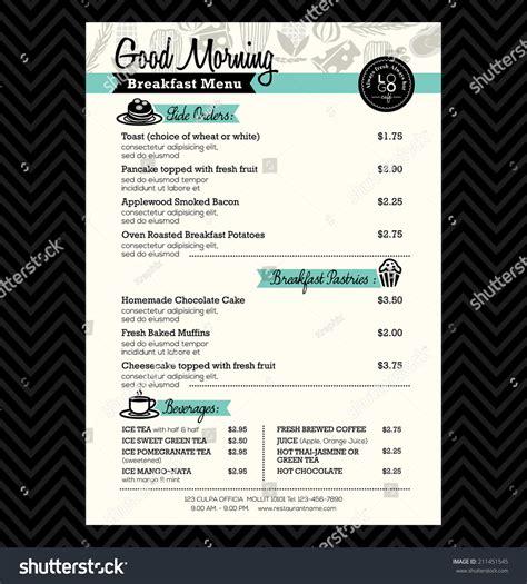 menu layout design templates restaurant breakfast menu design template layout stock