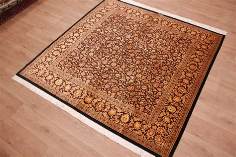teppich 200x200 perserteppich gom seidenteppich 200x200 cm schwarz gold ebay