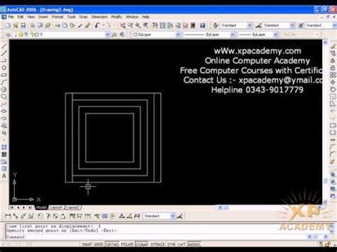 autocad tutorial offset command how to use offset command in autocad urdu tutorials www