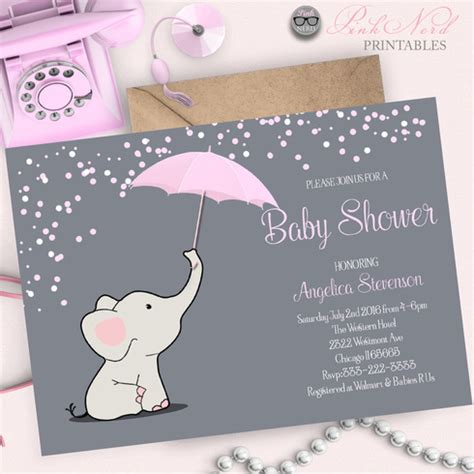 Holding A Baby Shower by Elephant Baby Shower Invitation Elephant Holding Umbrella