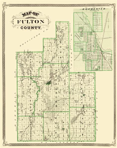 Fulton County Property Records Map County Maps Fulton County Indiana Landowner In By Baskin Forster Co 1876