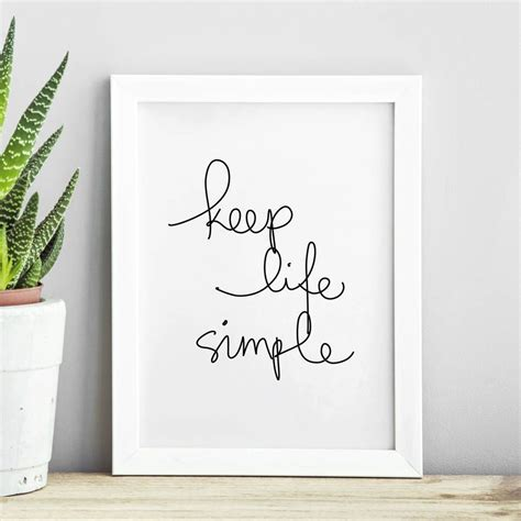 life simple inspirational typography print