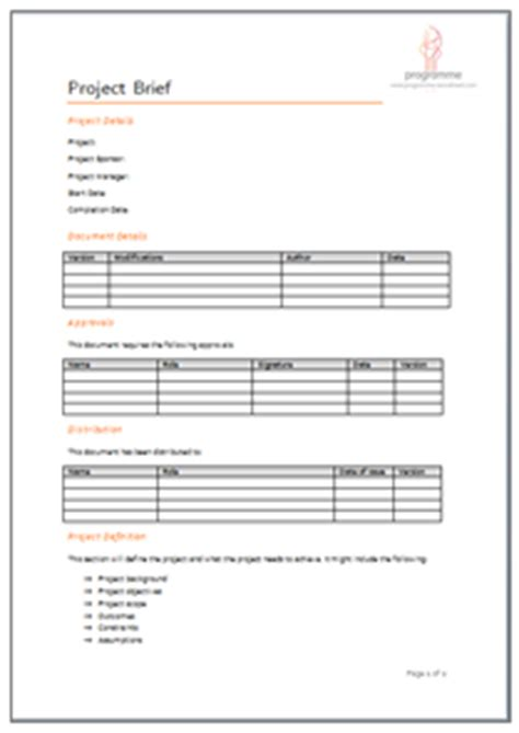 Management Briefformat Programme Project Tools Project Initiation Document Templates