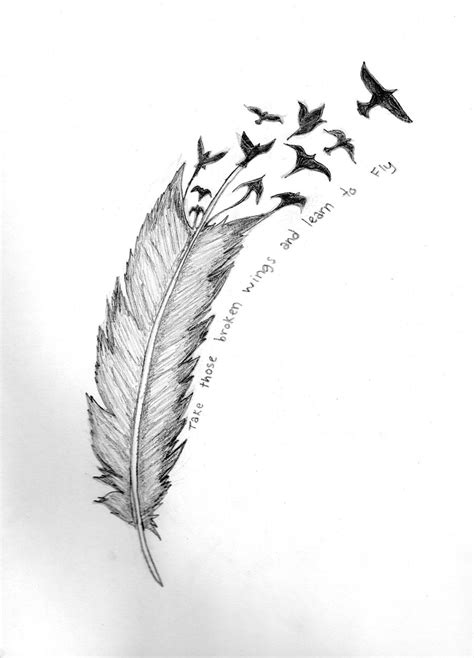 feather into birds tattoo feather turning into birds sketch tattooshunt