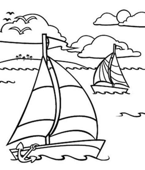 boat drawing colour sailing boat sailing boat in the ocean coloring pages