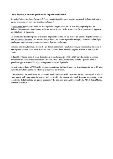 Banca Intesa Conto Deposito Vincolato by Calam 233 O Conto Deposito 232 Ancora Il Preferito Dai