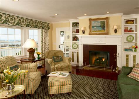 yellow  green french country living room  plaid