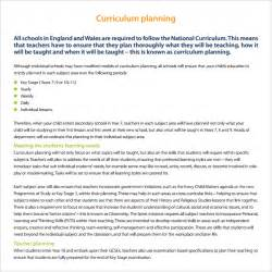 curriculum planning template sle curriculum planning template 9 free documents in