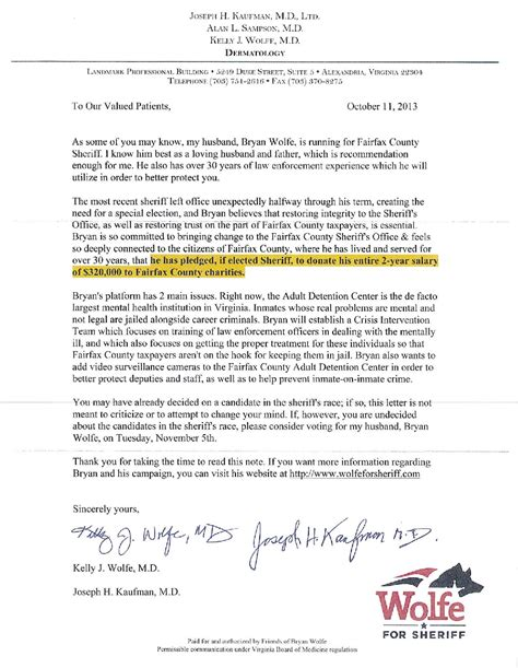 Patient Letter Of Support Wolfe Caign Uses Patients Records To Solicit Support Fairfax Democrats