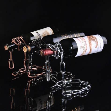 creative suspension chain wine rack rak rantai anggur silver jakartanotebook