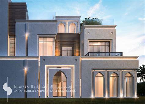 islamic pattern elevation 500 m private villa kuwait by sarah sadeq architects