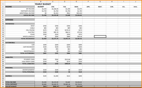 12 month budget template excel monthly spreadsheet