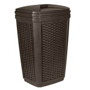 home depot trash can suncast 30 gal brown wicker outdoor trash can bmwc3007