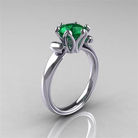 antique 14k white gold 1 5 carat emerald engagement ring