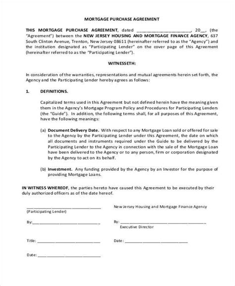 8 Subordination Agreement Form Sles Free Sle Exle Format Mortgage Purchase Agreement Template