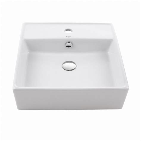 Kraus Bathroom Sinks by Kraus Square Ceramic Vessel Bathroom Sink In White Kcv 150 The Home Depot