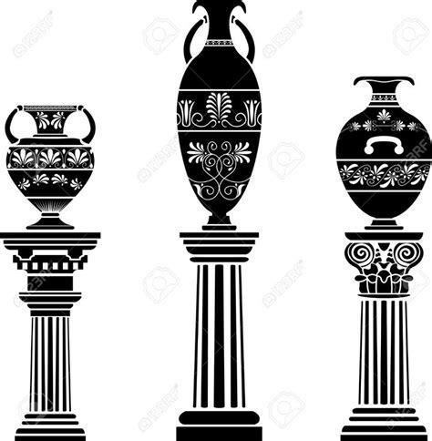 vase antique sur colonne ensemble de gabarit banque d
