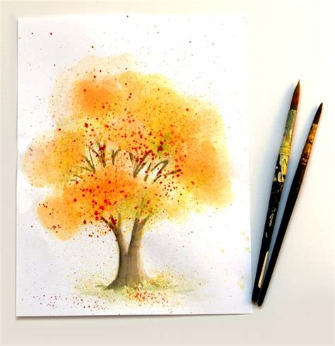 learn watercolor painting fall tree a of rainbow