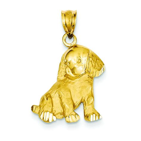 puppy gold 14k yellow gold puppy charm pendant findingking ebay