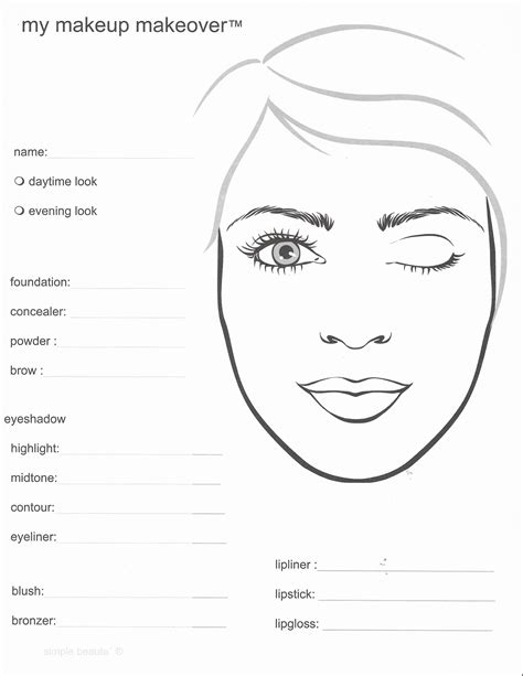 free face makeup coloring pages