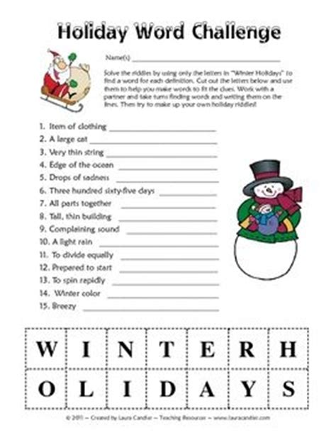 printable word challenge games word challenge word games and winter holidays on pinterest