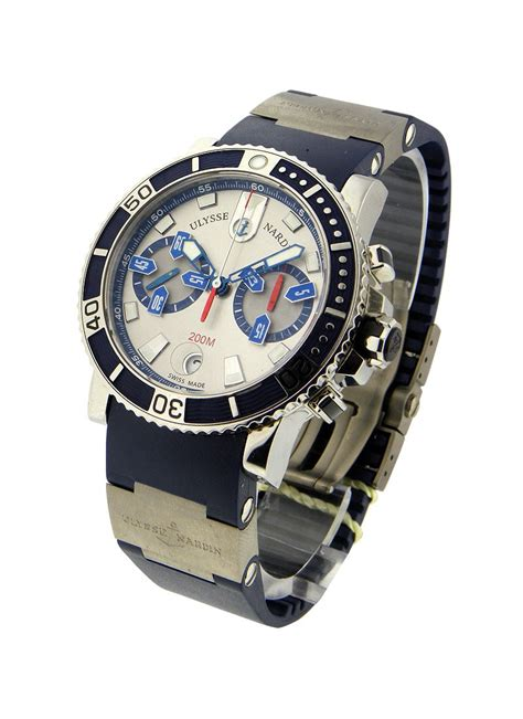 Ulysse Nardin Marine Diver Silver Black Leather For Automatic 8003 102 3 91 ulysse nardin marine maxi diver chronograph steel essential watches