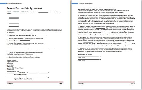 Partnership Agreement Templates 5 Free Word Pdf Simple General Partnership Agreement Template