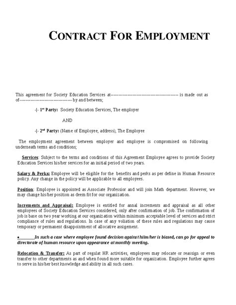 Work Contract Template Free contract of employment template free printable documents