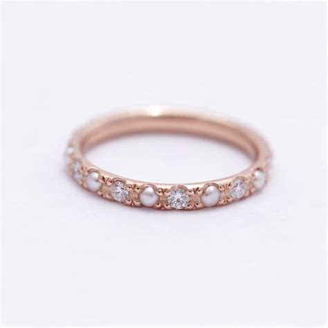 Wedding Rings With Pearls by Pearl Wedding Ring Pearl Eternity Ring Pearl