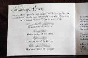 in memory of wedding program side pony our programs weddingbee