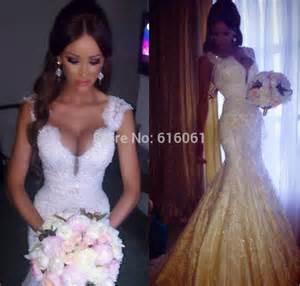 Mermaid lace wedding dresses 2015 v neck sleeveless backless sweep