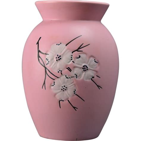 Mccoy Vase Pink by Mccoy Pottery 1961 Wood Pink Vase With Dogwood