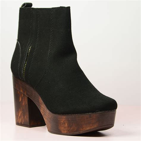 new womens wooden block high heel ankle boots lace