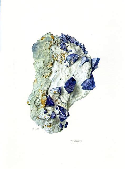 bca xxi buy 1 for 2 benitoite vintage mineral print rock gems gemstones