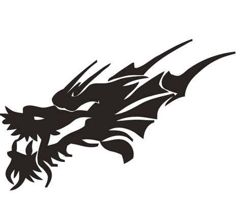 tribal black dragon head embroidery design tattoo ideas