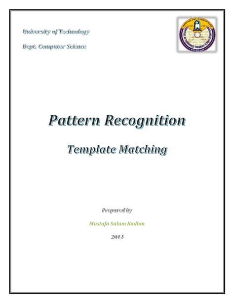 pattern recognition video lectures mit template matching pattern recognition