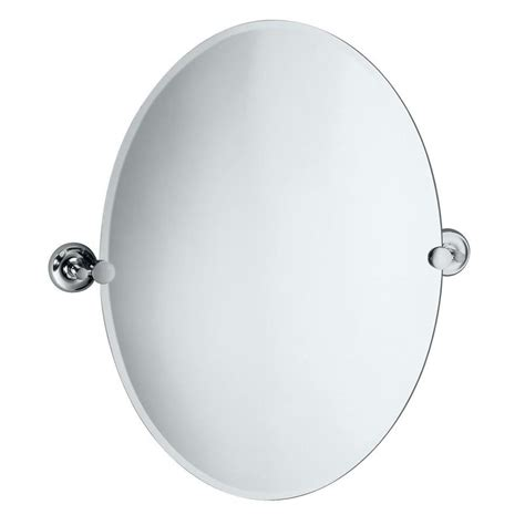 oval frameless bathroom mirror shop gatco designer 2 26 5 in h x 19 5 in w oval tilting