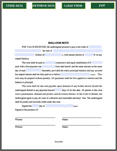Mortgage Refinance Letter Templates balloon note free fillable pdf forms free fillable pdf