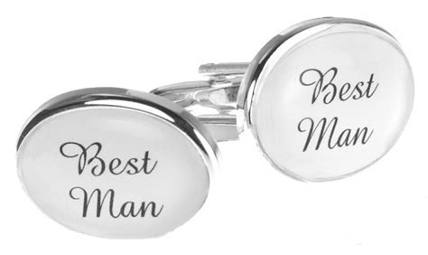 Mens Silver White Personalised Gift Oval Wedding Cufflinks