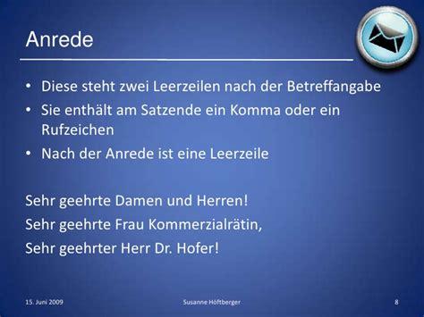 Schweiz Brief Anrede Komma Der Gesch 228 Ftsbrief