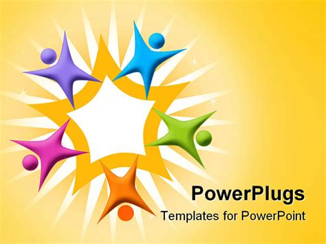 Powerpoint Template Multicolored Figures Arranged Around Orange Star Teamwork 28975 Free Teamwork Powerpoint Templates