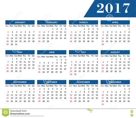 pendant l calendrier mural mensuel pendant l 233 e 2017 illustration