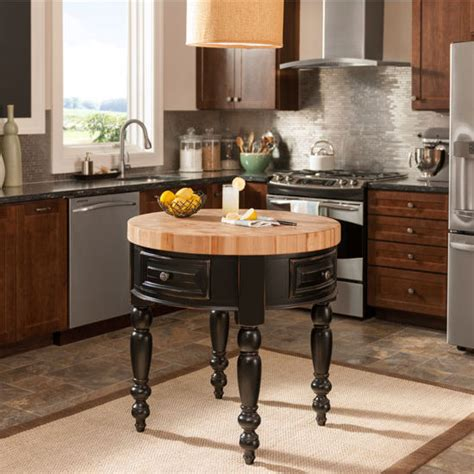 rounded kitchen island jeffrey alexander round petite kitchen island with butcher