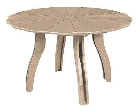 generations beige 52 quot scalloped dining table from cr