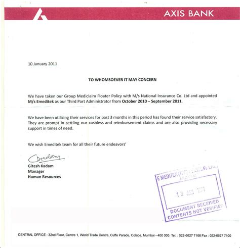 Axis Bank Letter Of Credit Tpa For National Insurance Mediclaim
